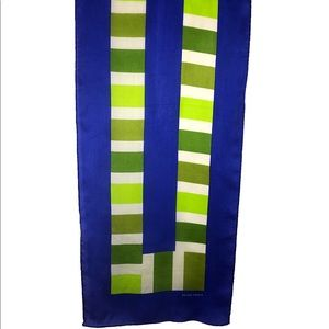 Ellen Tracy Silk Scarf Oblong Blue Green White